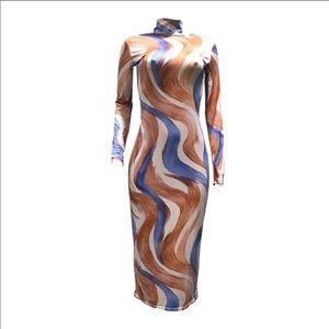 🔥SALE🔥sexy bodycon curve print turtleneck dress